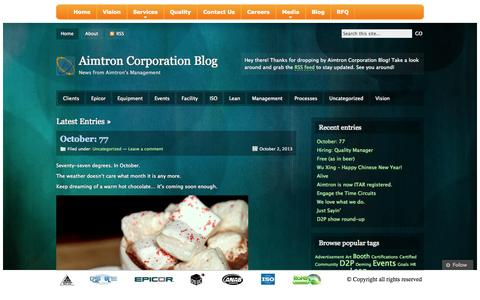 Screenshot of Blog aimtroncorporation.com - Aimtron Corporation | Blog - captured Sept. 30, 2014