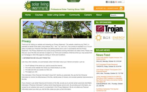 Screenshot of Privacy Page solarliving.org - Solar Living Institute - Privacy - captured Oct. 26, 2014