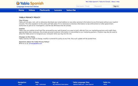 Screenshot of Privacy Page yabla.com - Yabla Spanish - Privacy Policy - captured Oct. 27, 2014