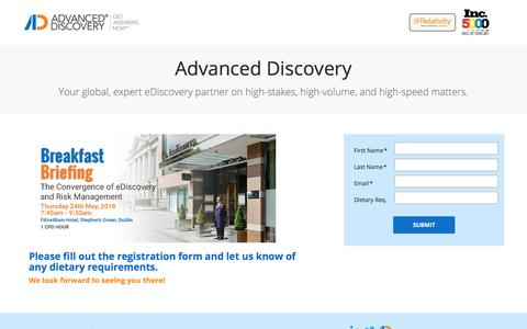 Screenshot of Landing Page advanceddiscovery.com - RSVP - captured May 28, 2018