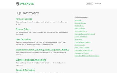 Screenshot of Terms Page evernote.com - Evernote Legal Information | Evernote - captured Dec. 16, 2014