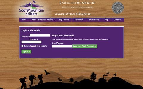 Screenshot of Login Page scotmountainholidays.com - Login to edit Scot Mountain Holidays - captured Dec. 22, 2015