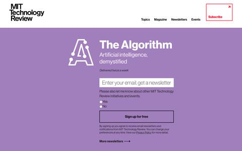 Screenshot of Signup Page technologyreview.com - The Algorithm - MIT Technology Review - captured May 5, 2019