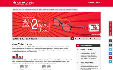 Screenshot of About Page visionexpress.in - About Us - Vision Express - captured Nov. 5, 2014