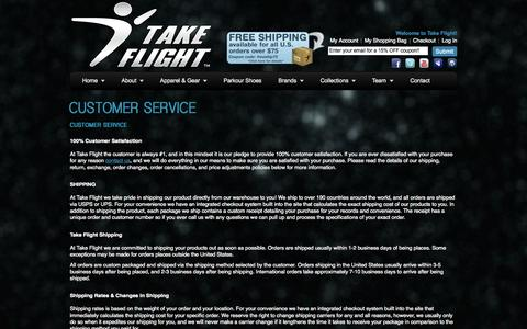 Screenshot of Support Page takeflightapparel.com - Customer Service | Take Flight - The Official Clothing of Parkour Since 2008 - captured Nov. 4, 2014