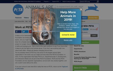 Screenshot of Jobs Page peta.org - Work at PETA or the PETA Foundation | PETA - captured Dec. 15, 2018