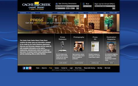 Screenshot of Press Page cachecreek.com - Cache Creek - Press - captured Sept. 19, 2014
