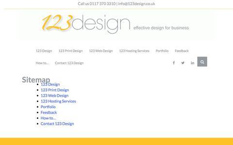 Screenshot of Site Map Page 123design.co.uk - Sitemap | 123 Design | 123 Design - captured June 11, 2017