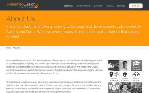 Screenshot of About Page marameodesign.com - About Us - Marameo Design - captured Jan. 9, 2016