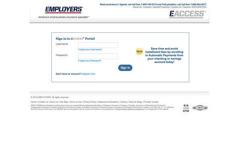 Screenshot of Login Page employers.com - EACCESS Login | EMPLOYERS Insurance - captured June 16, 2019