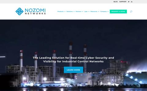 Screenshot of Home Page nozominetworks.com - Industrial Cyber Security and OT Security Solutions | Nozomi Networks - captured July 26, 2019