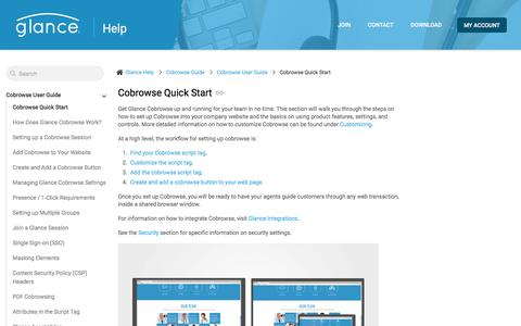 Screenshot of Support Page glance.net - Cobrowse Quick Start | Glance Help - captured Jan. 3, 2020