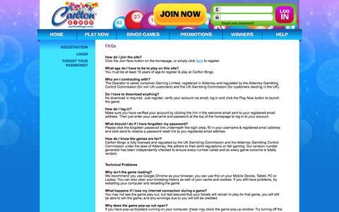 Screenshot of FAQ Page carltonbingo.com - FAQ - Carlton Bingo - captured Oct. 25, 2016