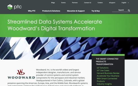 Screenshot of Case Studies Page ptc.com - Streamlined Data Systems Accelerate Woodward's Digital Transformation | PTC - captured Nov. 13, 2018