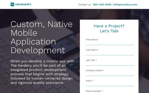 Screenshot of Landing Page nerdery.com - Mobile App Development | The Nerdery | Nerdery - captured Sept. 29, 2018