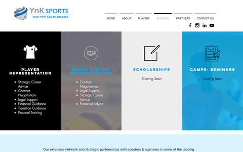Screenshot of Services Page ynksports.com - YnK Sports Volleyball Agency   Services - captured Sept. 20, 2018