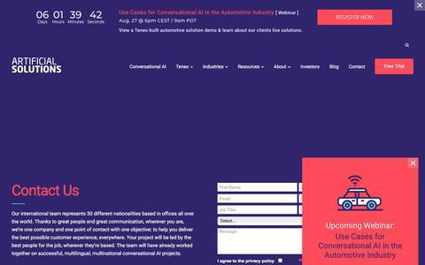 Screenshot of Contact Page artificial-solutions.com - Contact | Conversational AI Platform | Artificial Solutions - captured Aug. 21, 2019