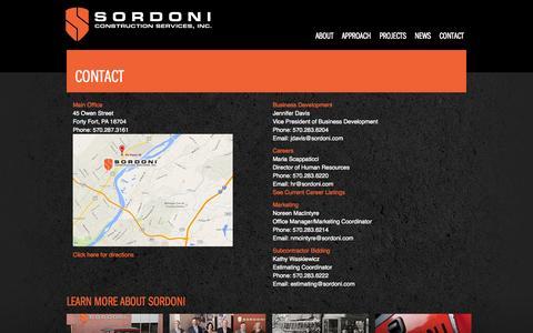 Screenshot of Contact Page sordoni.com - Contact | Sordoni Construction - captured Oct. 6, 2014