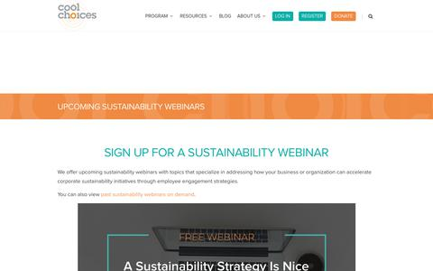 Screenshot of Signup Page coolchoices.com - Upcoming Sustainability Webinars - Cool Choices - captured July 21, 2018