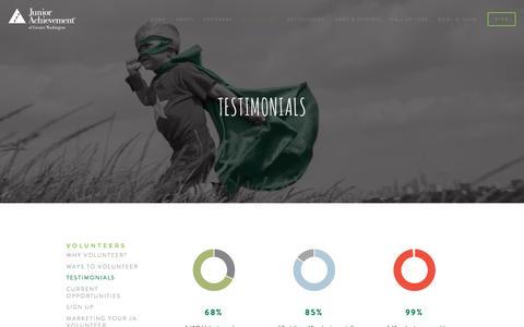 Screenshot of Testimonials Page myja.org - Testimonials — Junior Achievement of Greater Washington - captured Nov. 27, 2016