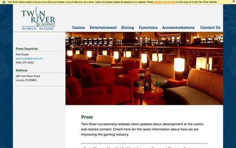 Screenshot of Press Page twinriver.com - Press - Twin River Casino - captured Nov. 20, 2015