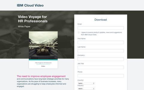 Screenshot of Landing Page ibm.com - Video Communication Strategy for HR Pros | IBM Cloud Video - captured April 9, 2018