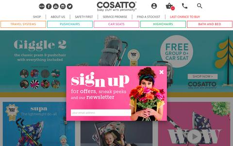 Screenshot of Home Page cosatto.com - Baby Prams, Pushchairs, Car Seats & More - Buy Online | Cosatto - captured May 22, 2017