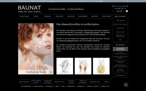Screenshot of Home Page baunat.com - Engagement ring? Fine diamond jewellery at BAUNAT - Online boutique - captured July 11, 2014