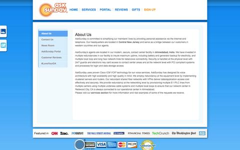 Screenshot of About Page asksunday.com - Personal Assistant, Virtual, Services, Online, Data, Digital, Hire - captured Sept. 19, 2014