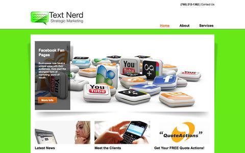 Screenshot of Home Page textnerd.com - Text Nerd Strategic Marketing - captured Oct. 7, 2014