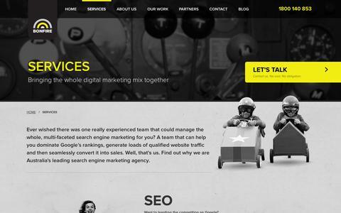 Screenshot of Services Page bonfire.com.au - Digital Marketing Services, SEO, Google AdWords, Web Design | BONFIRE - captured Sept. 19, 2014