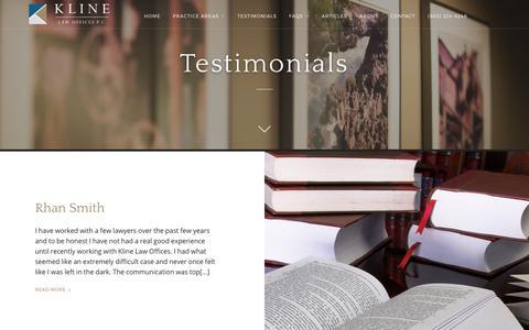 Screenshot of Testimonials Page klinelawpc.com - Testimonials | Kline Law Offices P.C. - captured Oct. 17, 2017