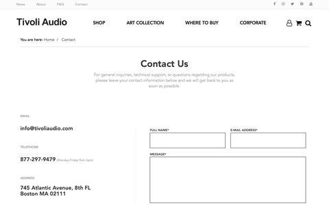 Screenshot of Contact Page tivoliaudio.com - Contact Tivoli Audio - captured Oct. 14, 2018