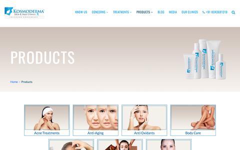 Screenshot of Products Page kosmoderma.com - Products - Kosmoderma Skin & Hair Clinics - captured Aug. 21, 2019
