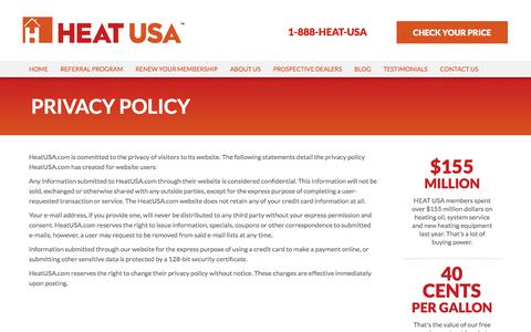 Screenshot of Privacy Page heatusa.com - HEAT USA :: Privacy Policy - captured July 15, 2018