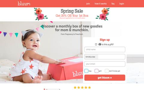Screenshot of Home Page bluum.com - A monthly box of new goodies for mom & baby - captured May 5, 2018
