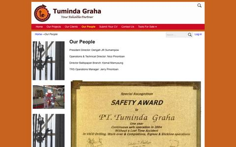 Screenshot of Team Page tuminda.com - Our People – P.T. Tuminda Graha - captured Feb. 16, 2016