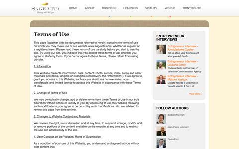 Screenshot of Terms Page sagevita.com - Terms of Use - Sage Vita - captured Oct. 3, 2014