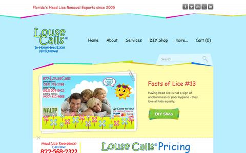 Screenshot of Pricing Page lousecalls.com - PALM BEACH HEAD LICE TREATMENT REMOVAL SERVICES COMPANY   BOYNTON BEACH FLORIDA - LouseCalls   HEAD LICE REMOVAL and TREATMENT SERVICES   FLORIDA - captured Oct. 3, 2014