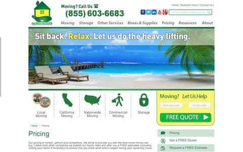 Screenshot of Pricing Page mymovingguys.com - Moving Pricing - My Moving Guys (855) 603-6683 - captured Oct. 19, 2018