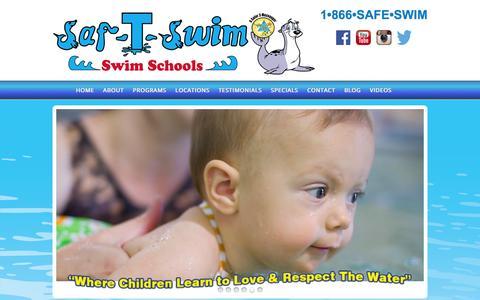 Screenshot of Home Page saf-t-swim.com - Swim Lessons of Long island, Long Island Swim Lessons, Learn to Swim - captured June 20, 2016