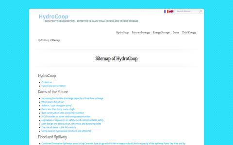 Screenshot of Site Map Page hydrocoop.org - Sitemap of HydroCoop - Dams, Tidal Energy, Energy Storage Association - captured May 21, 2016
