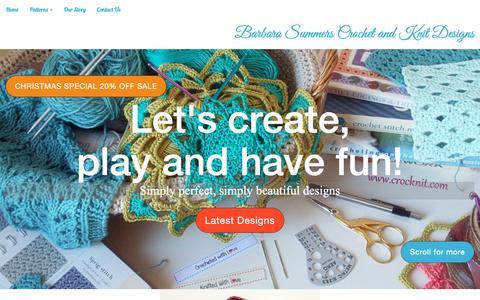 Screenshot of Home Page crocknit.com - Barbara Summers Hand Knit and Crochet - captured Nov. 11, 2018