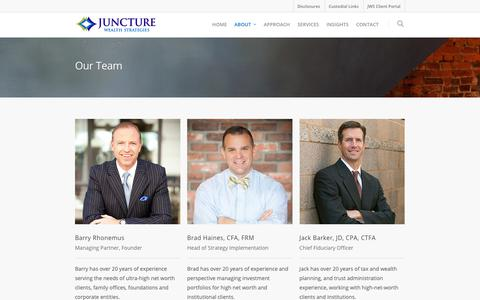 Screenshot of Team Page juncturewealth.com - Our Team    Juncture Wealth Strategies - captured Oct. 14, 2018