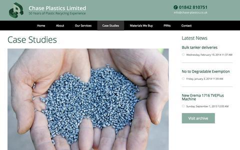 Screenshot of Case Studies Page chase-plastics.co.uk - Case Studies   Chase Plastics Limited - captured Oct. 2, 2014