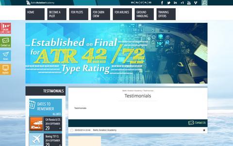 Screenshot of Testimonials Page balticaa.com - Testimonials | Baltic Aviation Academy - captured Sept. 25, 2014