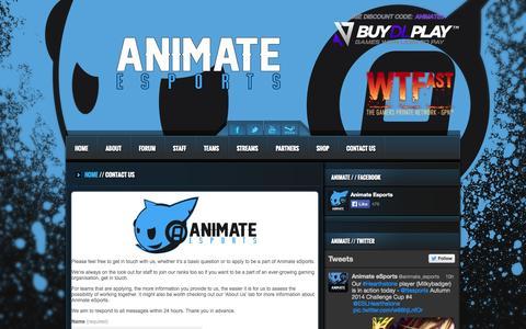 Screenshot of Contact Page animate-esports.net - Animate eSports - captured Sept. 30, 2014