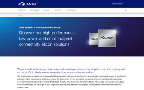 Screenshot of Products Page aquantia.com - Products - Aquantia Corp - captured July 13, 2018