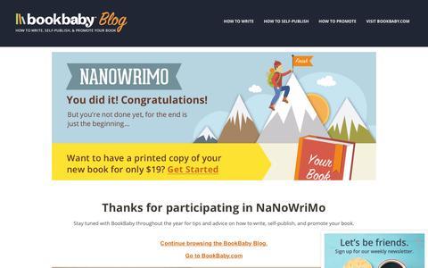 Screenshot of Blog bookbaby.com - NaNoWriMo | BookBaby Blog - captured Feb. 27, 2017