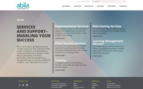 Screenshot of Services Page abila.com - Nonprofit and Association Services   Abila - captured Jan. 18, 2019